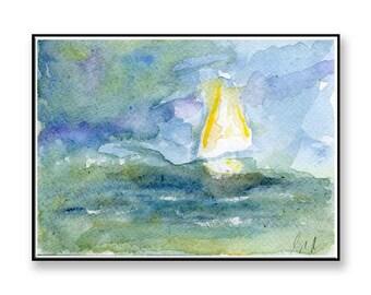 Watercolor painting of a Sailing Boat at sea (PRINT) seascape, water,sailing, boat, 40th anniversary gift