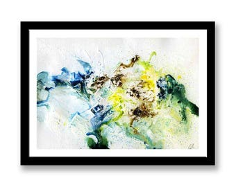 Yellow and Blue abstract // Original one of a kind art work // Abstract Ink Painting // Wall Art // Office Art // Corporate Art