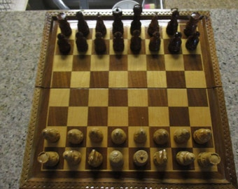 Vintage Folding Chess Set