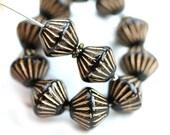 Black Large bicone beads, Golden stripes, czech Glass jet black pressed beads - 11mm - 10pc - 2899