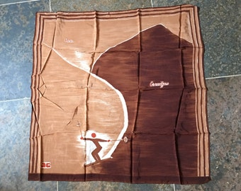 COURREGES 60s Carre Skier Synthetic Fabric Light Brown And Chocolate Color Monogram AC For Andre Courreges