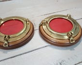 Pair of Port Hole Picture Frames Wood and Brass Vintage Home Decor Beach Nautical Theme