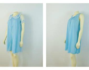 Vintage Nightgown & Peignoir Sky Blue Nightie and Chiffon Robe Mad Men Sandra Dee Slumber Party Nightie Set Size Small