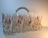 7 Fred Press MCM Highball Glasses - Pink and Gold Reeds - Chrome Caddy Holder