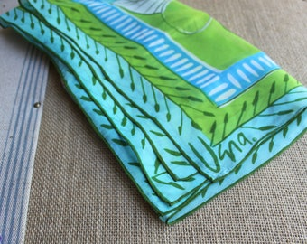 A beautiful handrolled Vera Neumann scarf aqua blue and lime green