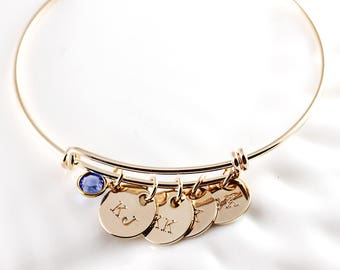 Personalized jewelry - Adjustable bracelet - Gold bangle bracelet - Mothers bracelet - Initial bracelet - Gift for mom - Charm bracelet