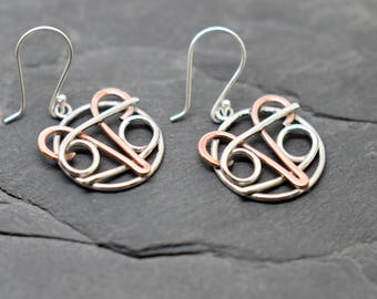 Aries cancer zodiac combined earrings sterling silver and copper