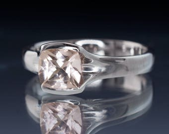 Cushion Cut Morganite Fold Semi-bezel Solitaire Engagement Ring in Palladium, White Gold, Yellow or Rose Gold, Sterling Silver or Platinum