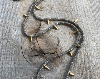 Long mystic labradorite and gold spike necklace