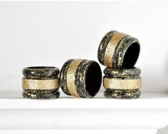 Black and Gold Napkin Rings with Glitter. Modern Art Deco Weddings, Birthday Party Table Settings, Showers and Receptions. Gift Set of 4