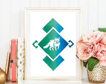 "Original Handmade Lino Cut Art Print - Signed & Mounted - 12x10"" - Arctic Fox - Ombre - Blue / Pink"