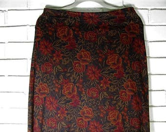 90's Rose Print Warm Jersey Cotton Maxi Skirt size M