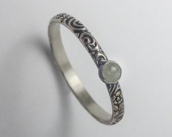Aquamarine Ring, Sterling Silver Floral Pattern Band with 3mm Madagascar Aquamarine, Aquamarine Ring Silver, March Birthstone Ring