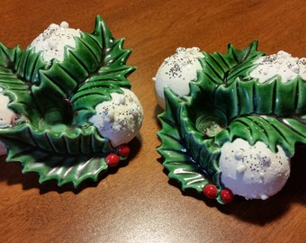 50% OFF! Pair Vintage Glitter Christmas SNOWBALL HOLLY Candle Holders Atlantic Mold