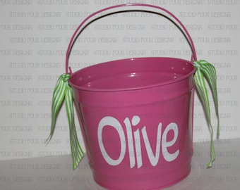 10 QUART Personalized Easter Bunny Bucket/Pail - Custom Easter Basket - Cute Easter Pail - Easter Egg Hunt - Assorted Colors/Designs