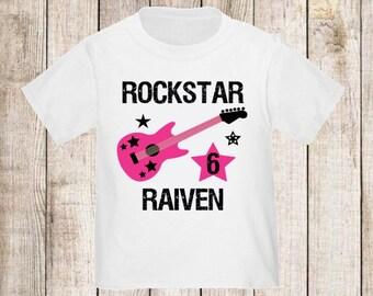 Rockstar Guitar Personalized Birthday Shirt - ANY Age