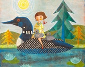 """Loon Rider print on wood 8""""x8"""" by Melissa Belanger (#3)"""