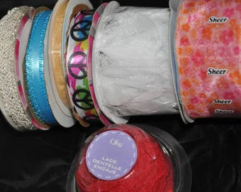 Set of 7 Spools of Ribbon/Lace