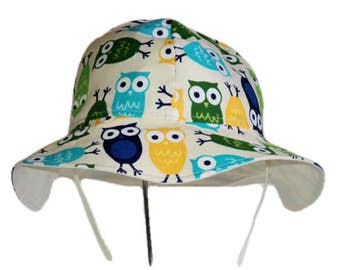 Owl Baby Hat, Baby Sun Hat, Summer Hat, Boy Or Girl Sun Hat, Wide Brim Cotton Hat, Newborn Hat, Toddler Hat, Floppy Beach Hat, Made To Order