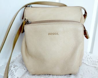 Vintage Nude Fawn Sand Distressed Fossil Leather Purse Crossbody Cross Body Shoulder Bag