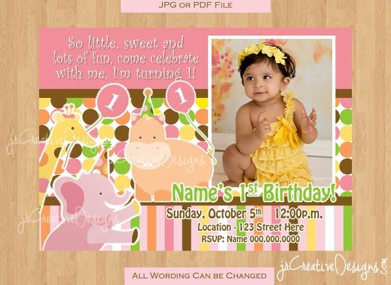 Safari Invite Girl 1st Birthday Invitation 1st Party Invitation