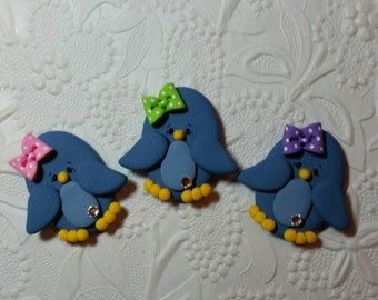 Cute little blue bird bow center,pin,magnet,gift ( price for one only )