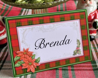 VICTORIAN CHRISTMAS PLAID Place Cards Personalized Place Cards Vintage Inspired Holiday Place Cards Elegant Christmas Place Cards Set of 12