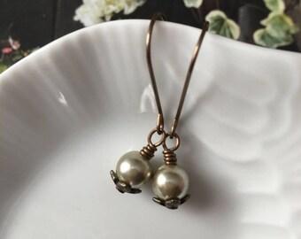 Vintage pearl earrings - boho neutral earrings gor women