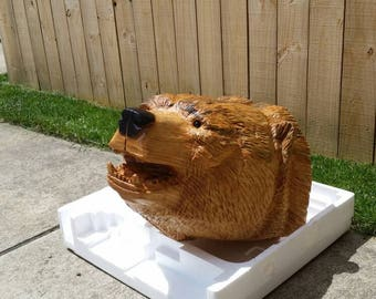 Chainsaw Carving Chainsaw Carved Bear Head Mount