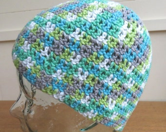Crochet beanie hat in grey, green and white