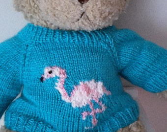 Teddy Bear Sweater - Hand knitted -Turquoise with Flamingo motif - fits Build a Bear