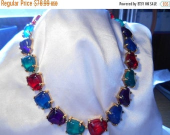 50% OFF SALE Avon Jewelesque Nugget Choker Necklace Jewel Tone Lucite Stones