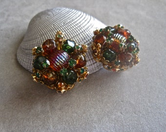 50s Jeweled Button Earrings GORGEOUS Fall Autumn Colors Clip On Evening High End Statement Green Topaz Orange Cinnamon Aurora Borealis