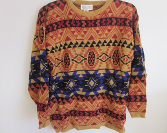 Men Women Vintage Sweater southwestern navajo design western cowboy L large