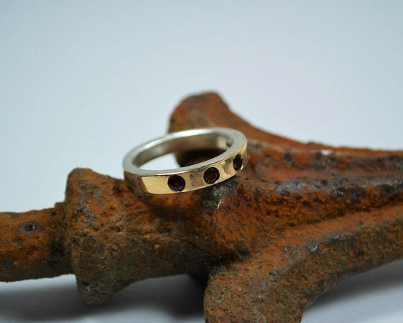 Gold and Silver Ring - 18K Gold and Sterling Silver Ring - Simple Modern Garnet Ring of Gold and Silver