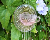 Recycled Depression Glass Suncatcher, Pink Hobnail Teacup & Saucer Stained Glass Windchimes, Glass Garden Art, Handmade Glass Wind Chime