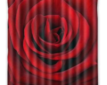 Red Rose Shower Curtain, Shower Curtain, Rose Bath Decor, home Decor, Floral Shower curtain