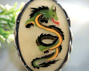 Pietra Dura Dragon Mosaic Ring Sterling Silver Jewelry
