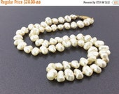 50% OFF Edwardian Style Vintage Pearl Necklace, single strand of freshwater pearls, ivory white pearls, golden filigree clasp. Wedding pearl