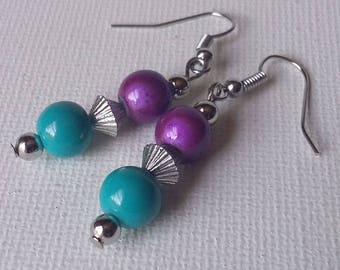 Turquoise and Purple Beaded Earrings