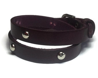 Deep Plum Wrap Bracelet - Studded Wrap Leather Bracelet - Studded Wrap Buckle Bracelet