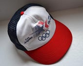 Vintage  1984 Olimpics  Los Angeles Baseball trucker Hat Cap Snapback Hat cap golf  hat  Unisex  hat vintage red white blue patriotic cap