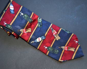 Vintage 90s Coca Cola  tie  Men's American classic Coke silk Necktie High Fashion wedding Father's Day  gift for him Made in USA