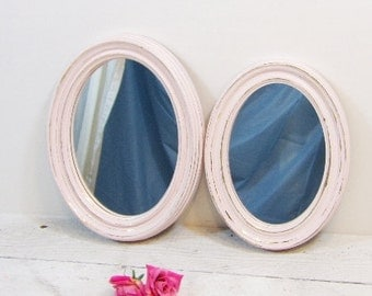 Set of Vintage Mirrors French Country Shabby Farmhouse Mirror Set Pink Homco Syroco