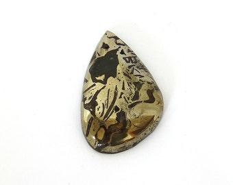 Ammonite with Pyrite Designer Cab Gemstone 27.5x43.9x7.7 mm 92 carats Free Shipping
