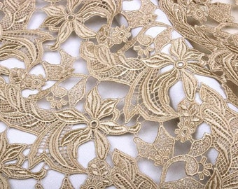 champagne guipure lace fabric, bridal lace fabric, venise lace fabric