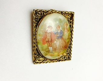 Victorian Couple Brooch/Pendant, Antique Gold Tone, Painted Porcelain, Clearance Sale , Item No. B084