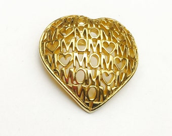 Vintage Mom Brooch, Large Heart, Gold Tone, Clearance Sale, Item No. B380