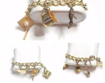 Vintage Damascene Charm Bracelet Gold Tone, Clearance Sale, Item No. De314