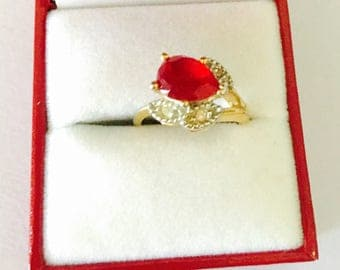 Vintage Ruby ring Size 5.5, gold over  silver, stamped, Clearance Sale, item No. S510